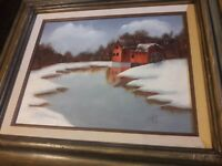 Oil Painting Landscape Winter Farm on board Signed Framed Suine Rustic Americana