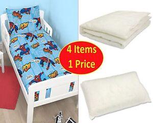 SPIDERMAN THWIP 4-IN-1 JUNIOR COT BED BUNDLE BEDDING QUILT & PILLOW DUVET KIDS