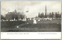 SELLERSVILLE BUCKS COUNTY PA SCHOOL ST.MICHAEL CHURCH CEMETERY ANTIQUE POSTCARD