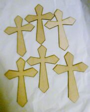 "6""  set of 6 Unfinished Blank Wood Cross Handmade DIY craft 6 inch Lot of 6"