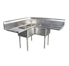 """3 Compartment Corner S/S Sink 18""""x18"""" 2 Drainboards 57"""" Stainless Steel 3 Bay"""