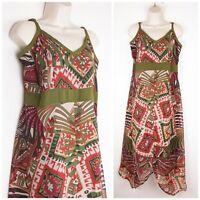 Joe Browns Floaty Handkerchief Hem Maxi Dress UK16 Tribal Print Summer Cruise