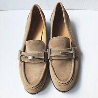 Franco Sarto 8.5 Baylor Suede Leather Slip On Loafers Tan