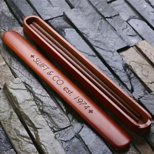 Personalised Engraved Bamboo Chopsticks w/ Case Wedding Birthday Christmas Gift