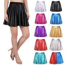 4ad45c7c69c Women s Shiny Metallic Wet Look Latex Skater Flared Short Pleated Mini Skirt