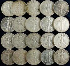 MIXED DATES 1940's LIBERTY WALKING HALF DOLLAR 50C VF / XF  FULL ROLL 20 COINS