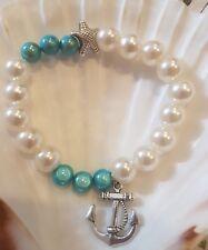 Armband Perlen Maritim weiß blau türkis Anker Miracle Effect handmade NEU