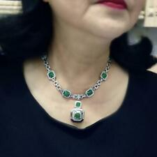 & 4.32Ct Cz Vintage Style Necklace Absolute Art Deco Light Green 24.85Ct Emerald