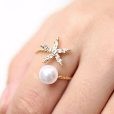 Fashion Women Ring Starfish Flower Pearl Crystal Finger Opened Ring Adjustable