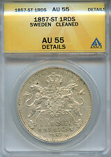 1857 St 1 Riksdaler Rds Specie Sweden Au 55 Details Anacs Almost About Unc