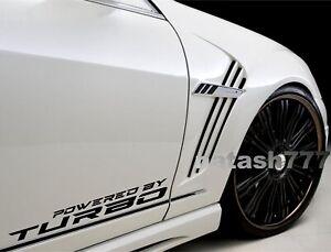 Powered by TURBO Vinyl Decal Sticker Racing Performance Sport Car Emblem logo 2x
