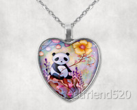 Panda Photo Tibet Silver Cabochon Glass Heart Pendant Heart Necklace