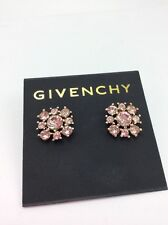 $42 Givenchy Gold Tone Rose Crystal Cluster Stud Earrings #717A