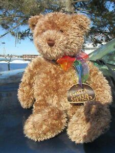 """VINTAGE TEDDY BEAR CUDDLY SOFT PLUSH RAINBOW RIBBON GOTTA GET GUND TAG 15"""" CUTE"""
