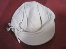 GIRLS HAT NEW ONE SIZE  STONE COLOUR WITH PRETTY FLORAL LINING LINEN COTTON