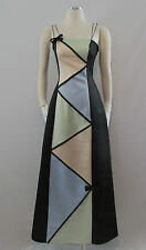 Jessica McClintock for Gunne Sax Black Color Block Formal Bridesmaid Prom Dress
