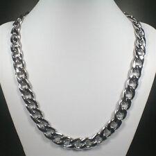 Schwere massive breite Edelstahl Halskette poliert klassisch