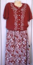 Women's Koret Country Classics Maxi Skirt & Cardigan Sweater Size Med RED Floral