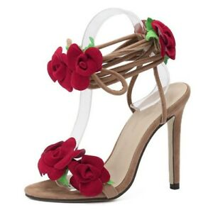 Women Roses Party Wedding Slingbacks Lace Up Stiletto Strappy Sandals High Heels
