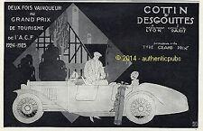 PUBLICITE AUTOMOBILE COTTIN & DESGOUTTES GOLF SIGNE GEO GAUMET DE 1925 FRENCH AD