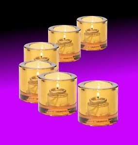 (6-Pack) Tea Candle Holder Amber Clear, Hollowick 5140A Tealight for HD-8