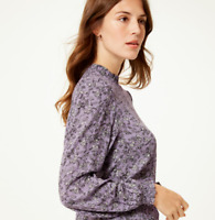 M&S Ladies Blouse Purple Floral Frill Neck Top BNWT Marks