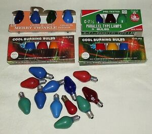 Vintage Christmas Light Bulbs 4 Packages & 12 Loose  C7 1/2 D26 Variety of Color