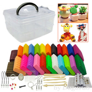 24 Colors Soft Polymer Clay Set Oven Bake DIY Craft Toy Air Dry Modeling Tool TI