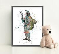 STAR WARS Poster Print Watercolor Framed Canvas Wall Art Nursery Pop Jedi Luke