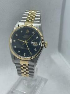 Rolex Datejust 16013 - 36MM - Factory Diamond Dial - Steel & Gold