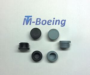 Lamellenstopfen Endkappen Stopfen Gleiter für Rund-Rohr D=25 grau + schwarz