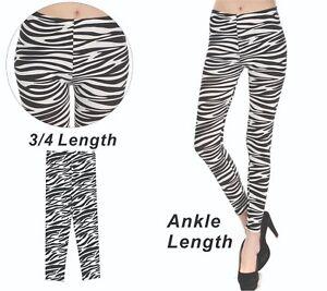 Zebra Pattern Animal Print 3/4Length / Ankle Length Skinny Tight Leggings S-XXL