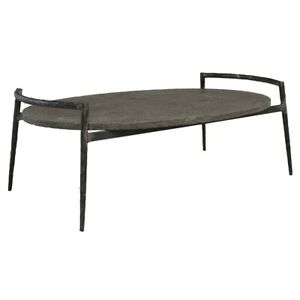 """47"""" W Gordon Coffee Table Inset Solid Blue Stone Top Black Forged Iron Base"""