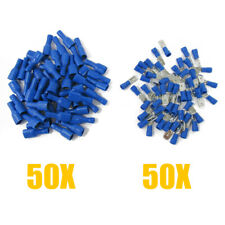 100pcs Insulated Female & Male Spade Crimp Terminal Connector for Audio Wire Kit