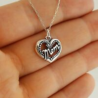 Mom Heart Necklace - 925 Sterling Silver - Mother Mama Love Jewelry Gift NEW