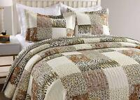 3Pc Quilt Bedspread Sets Bedding Coverlet Bedroom Cheetah Cal King Size