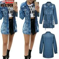 Women's Long Sleeve Ripped Denim Jacket Ladies Casual Slim Biker Jeans Long Coat