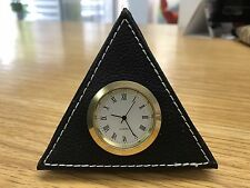 Analogue Pyramid Triangle Clock with Leather Exterior for Car and Table