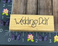JRL Design Wedding Day Rubber Stamp S314 Country Stitch Wood Mount #K35
