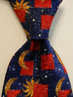 ERMENEGILDO ZEGNA Men's 100% Silk Necktie ITALY Luxury MOON & STARS Blue/Red EUC