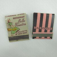 2 Vintage Matchbooks Belle Meuniere & Baroque Restaurant New York City, New York