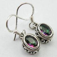 """Earrings 1"""" , 92.5% Sterling Silver RAINBOW MYSTIC TOPAZ TIBETAN Jewelry"""
