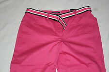 Karen Scott Pink Tummy Control Women's 12 Flat Front Capri Cotton Pants Belt