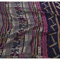 Tcw Vintage Blue Saree Georgette Hand Embroidered  Kantha Sari Craft 5 Yd Fabric