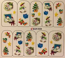 Nail Art Water Decals Christmas Tree Snowman Stocking Presents BOP089