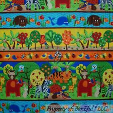 BonEful Fabric Cotton Quilt Border Baby Boy Girl Animal Noahs Ark Stripe L SCRAP