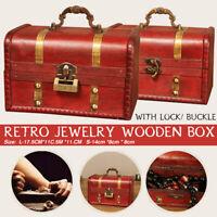Retro Wooden Treasure Chest Box Jewelry Storage Trinket Case + Lock/Buckle ❤️