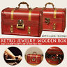 Retro Wooden Treasure Chest Box Jewelry Storage Trinket Case + Lock/Buckle ❤️
