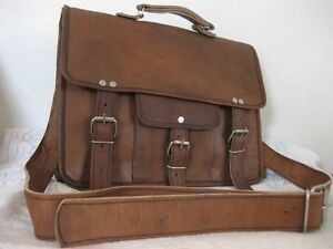 New Men Real CAMEL Leather Vintage Brown Messenger Shoulder Laptop Bag Briefcase