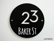Modern House Numbers ,Round Black with White Acrylic - Sign Plaque - Door Number